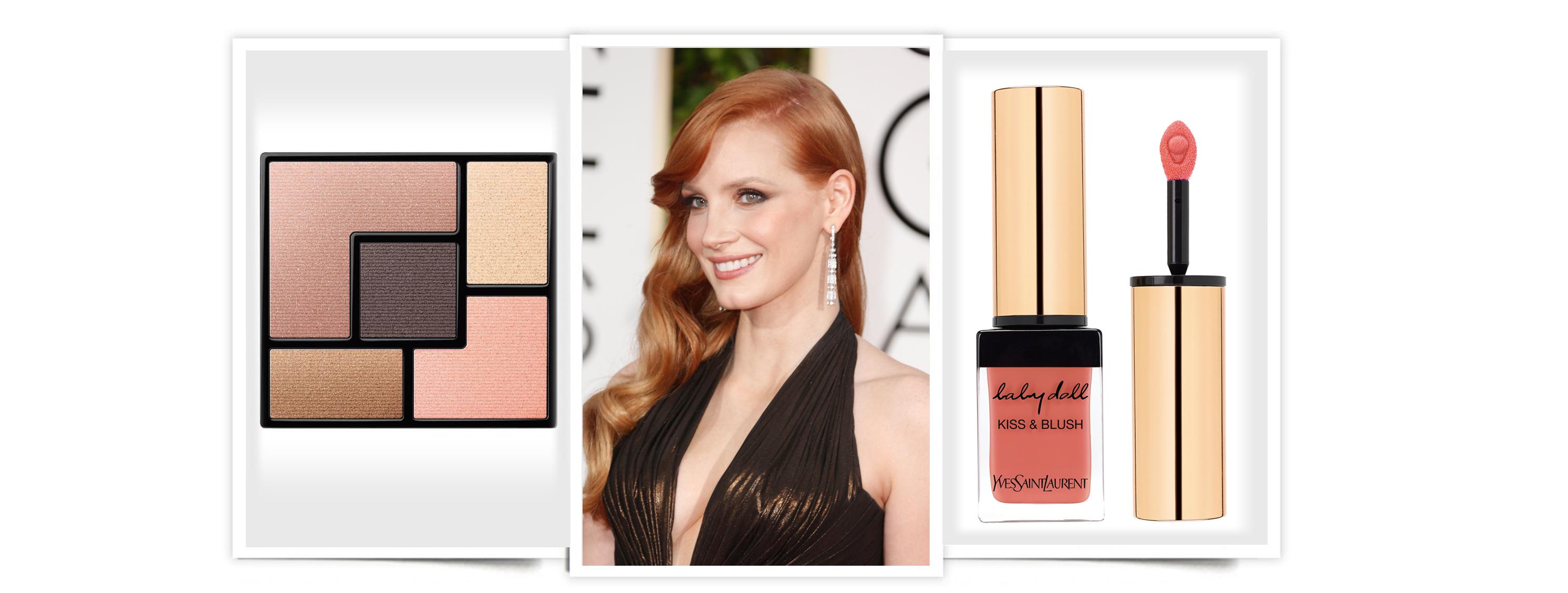 YSL maquillaje Jessica Chastain en los Globos de Oro