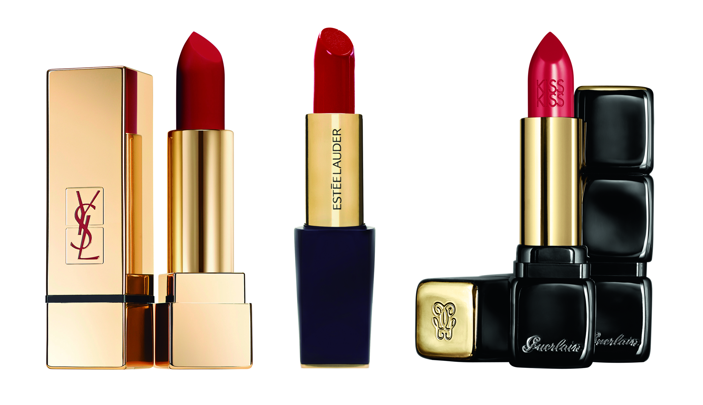 rojos de labios: YSL, Estée Lauder, Guerlain