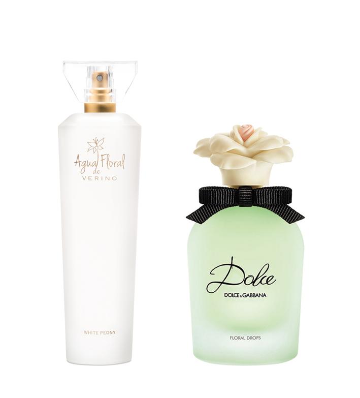 Agua Floral, de Verino, y Dolce Floral Drops, de Dolce & Gabbana.