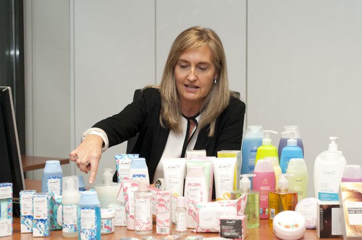 Carmen Valle con la gama de productos Bonté.