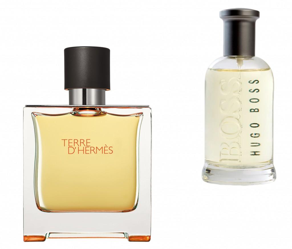 Terre d'Hermès y Boss Bottled.