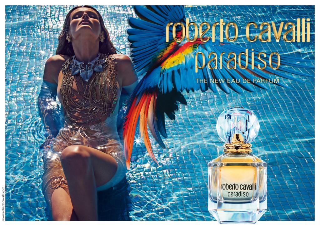 Visual publicitario del perfume Paradiso, Roberto Cavalli, protagonizado por Edita Vilkeviciute.