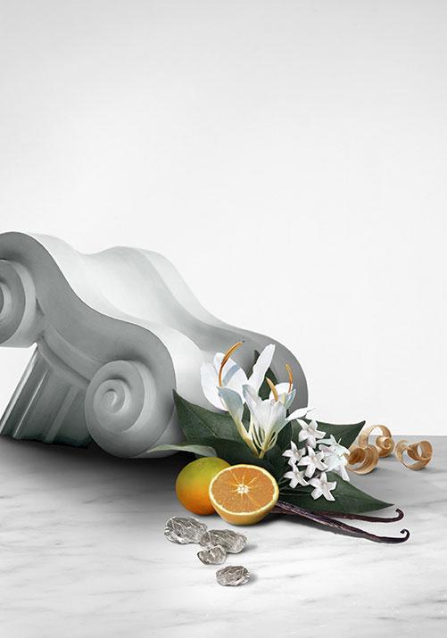 Ingredientes de Olympéa: mandarina verde, ginger lily, jazmín hidropónico, vainilla salada, ámbar gris y madera de sándalo.