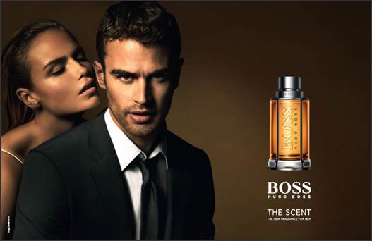 Imagen publicitaria de Boss The Scent, con Theo James y Natasha Poly.