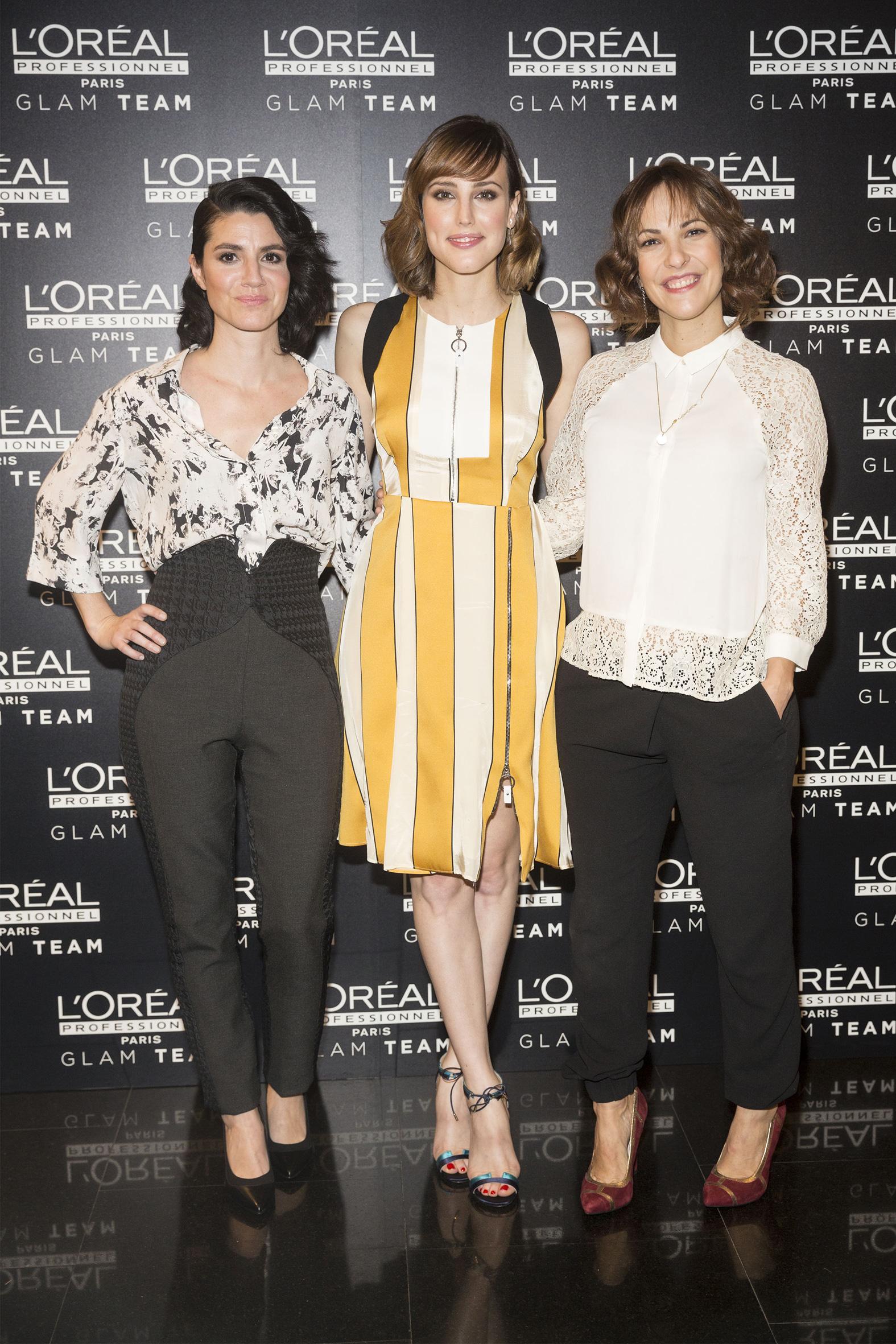 Iraia Elías, Natalia de Molina y Paula Ortiz, en la presentación del Glam Team de L'Oréal Professionnel