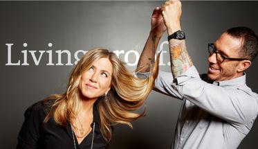 Living Proof, con Jennifer Aniston y su estilista Chris McMillan.