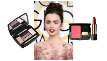 lancome-lilly-collins-globos-oro