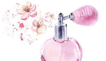 perfume ilustración color rosa