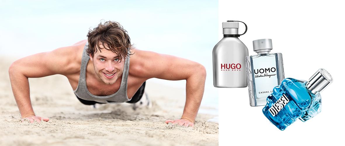 fragancias masculinas frescas: Hugo Boss, Uomo Salvatore Ferragamo y Diesel. perfumes masculinos más frescos