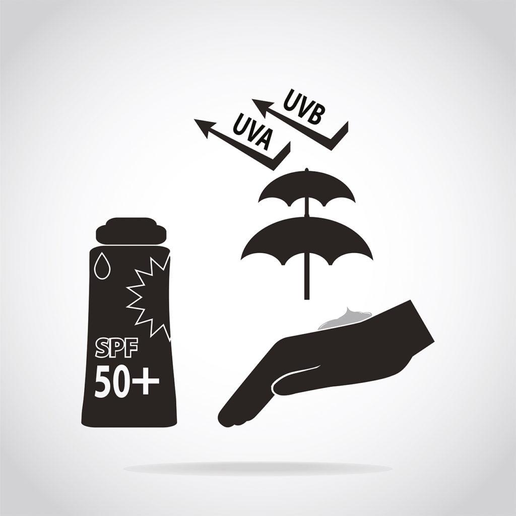 Símbolo protector solar efecto pantalla protectora sobre la piel