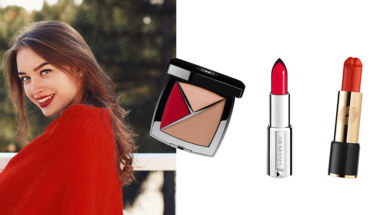 Chica sonrisa labiales rojos. Pinta tus labios de rojo.