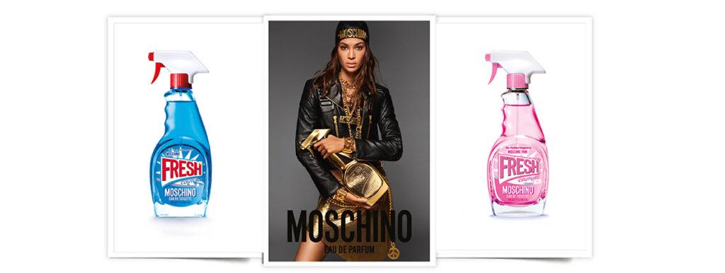 Fresh Couture de Moschino: perfume con forma de pistola limpiadora del hogar en tres versiones (azul, dorada y rosa).