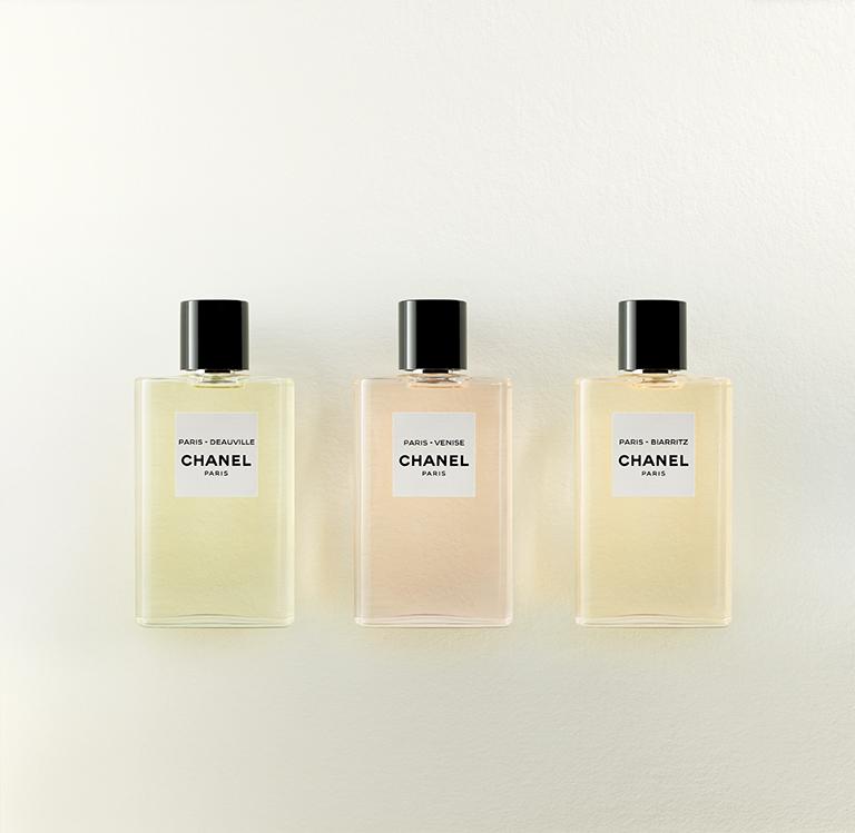 Les Eaux de Chanel colección de perfumes: Deauville, Biarritz y Venise.