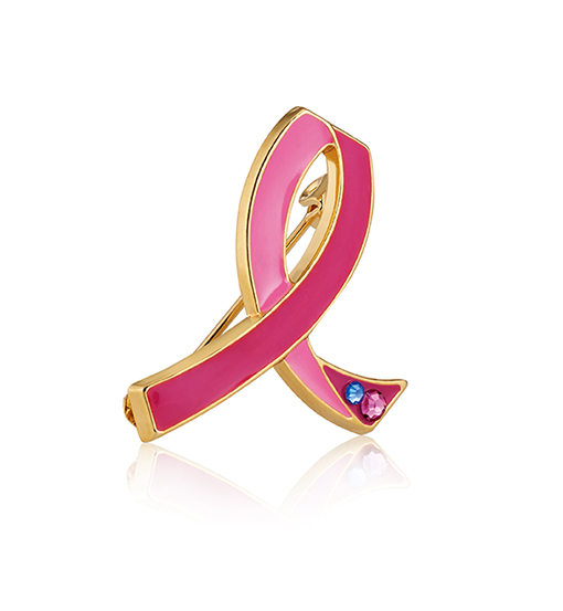 Pin Estée Lauder para recaudar fondos contra el cáncer de mama.