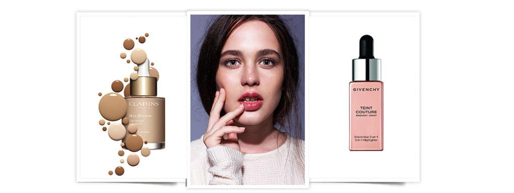 maquillaje efecto glow: Skin Illusion de Claris y Teint Couture Radiant Drop de Givenchy