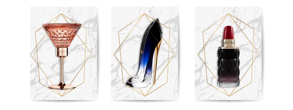 Frascos con forma de zapato, FRASCOS TRAMPANTOJOS: Pepe Jeans, perfumes con forma de copa; Good Girl, de Carolina Herrera, perfume con forma de zapato; y Yes I Am, de Cacharel, perfume con forma de barra de labios roja