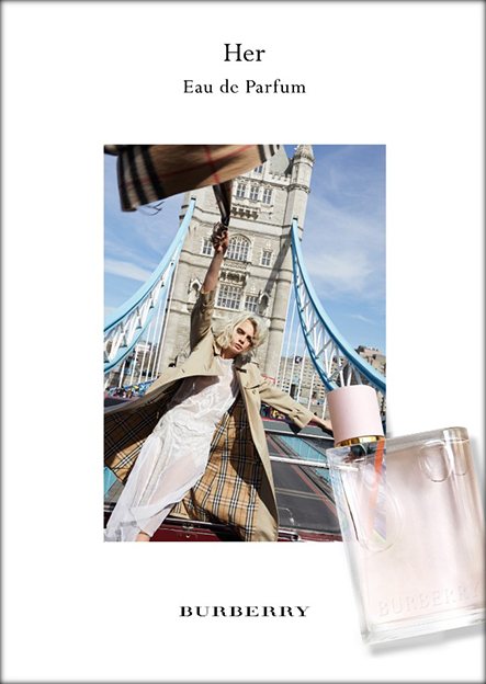 Visual publicitario Burberry Her Cara Delevingne