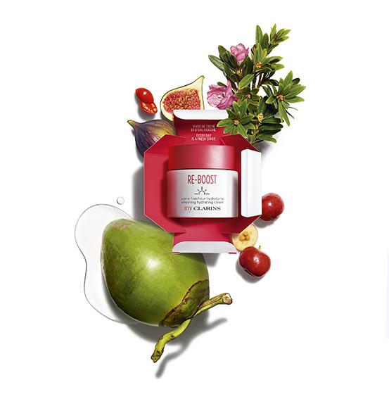 My Clarins, visual de producto, packaging y materias primas vegetales