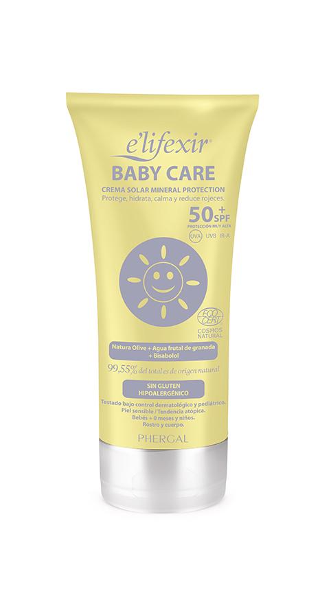E'lifexir Baby Care SPF 50+, filtro solar mineral para niños. Con certificado Ecocert.