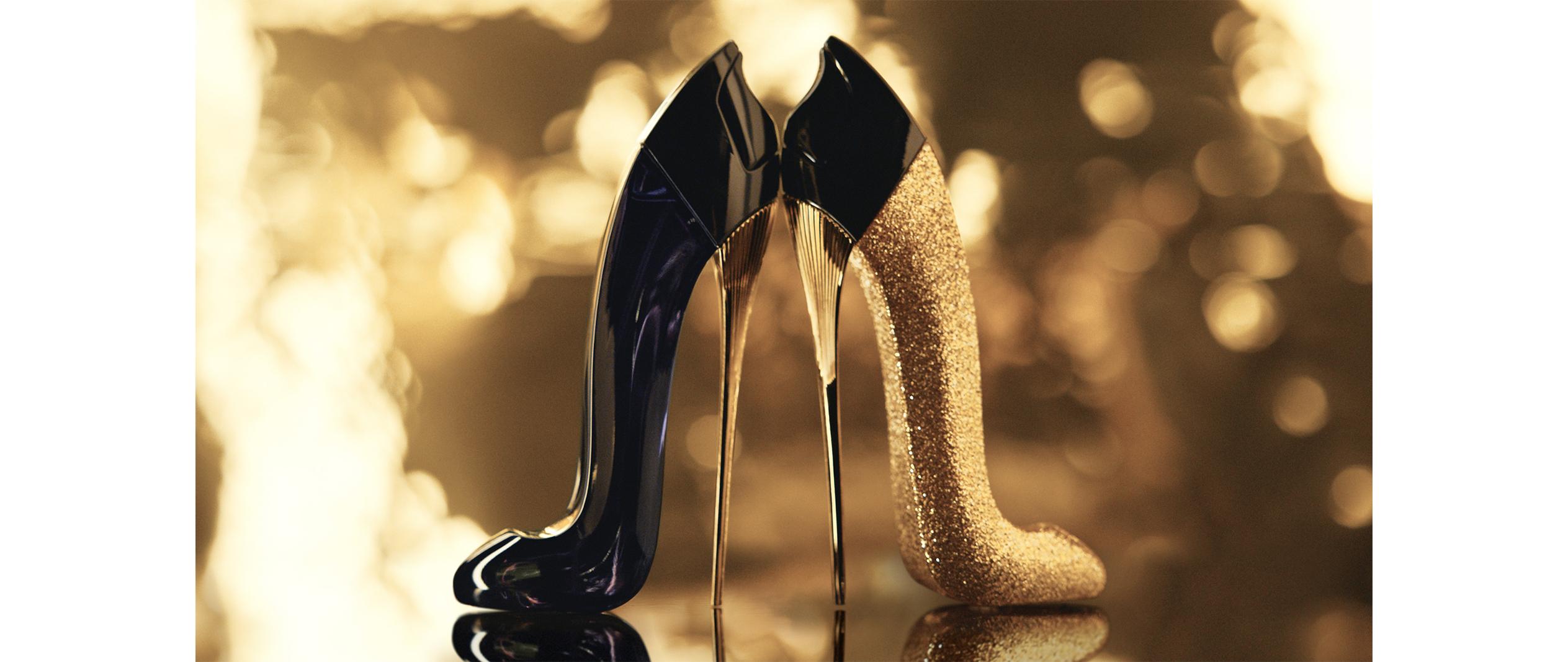 Good Girl Glorious Gold, el zapatito dorado de Carolina Herrera, edición limitada de coleccionista, perfume con forma de zapato dorado