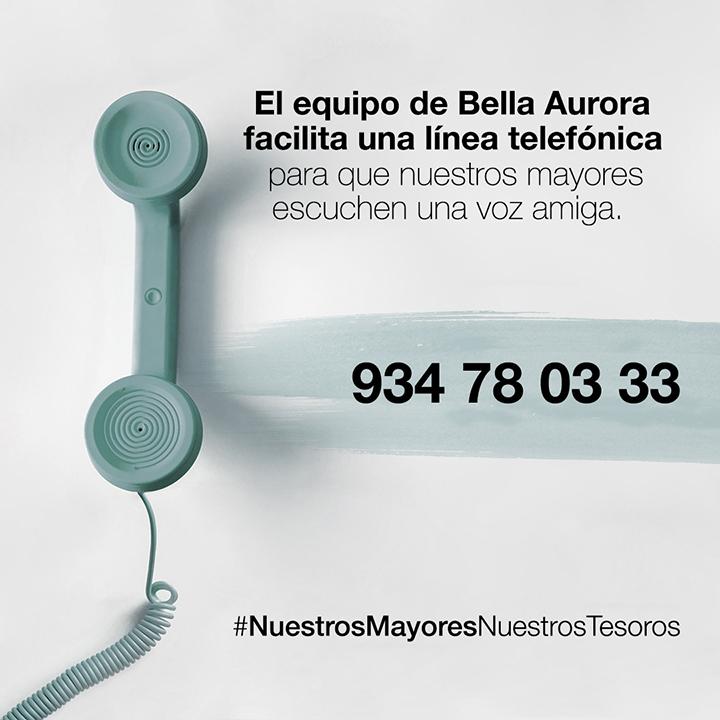 Teléfono de atención a las personas mayores Bella Aurora, #NuestrosMayoresNuestrosTesoros
