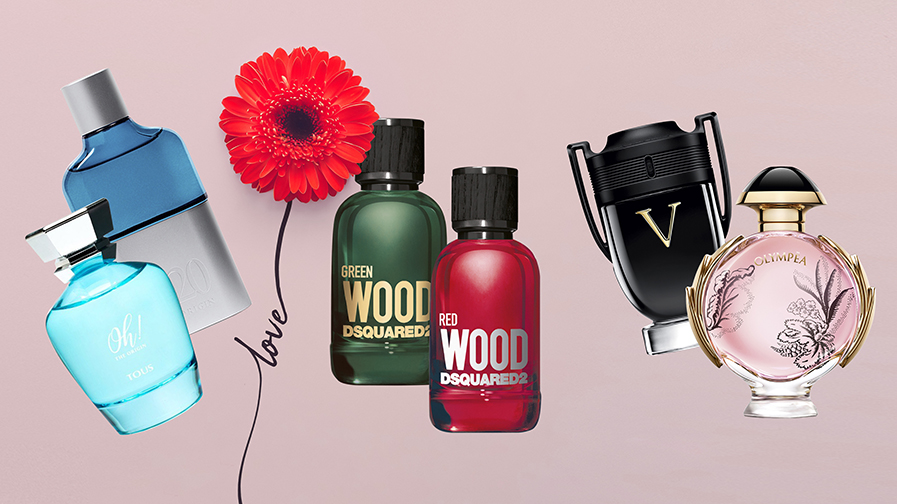 Bodegón de perfumes para el post: Ideas para comprar un perfume en San Valentín