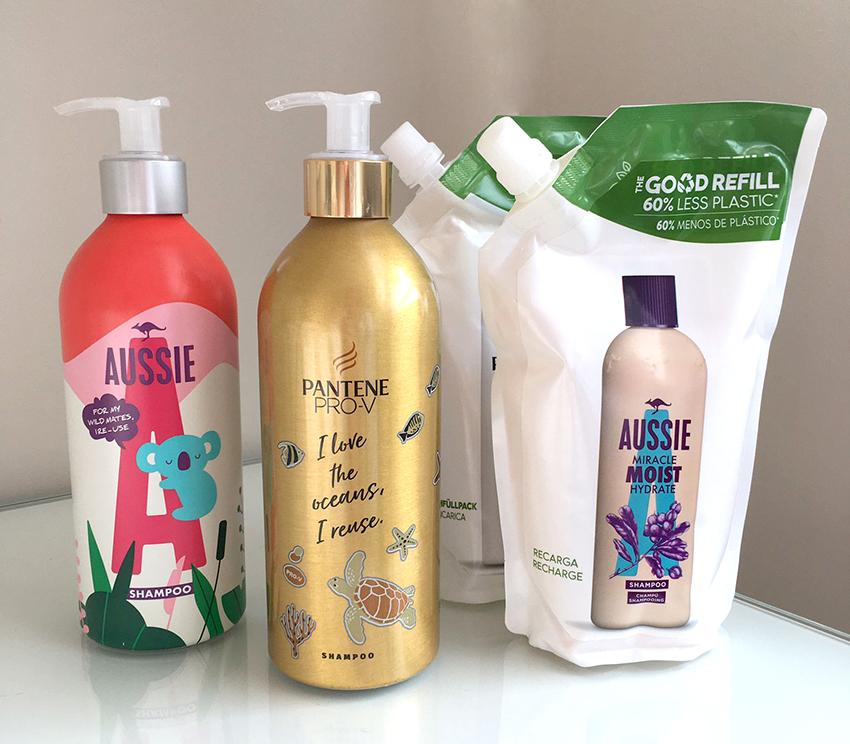 Procter & Gamble estre nuevos envases de aluminio para las marcas de champú: Pantene, Aussie, Herbal & Essences y H& H&S.