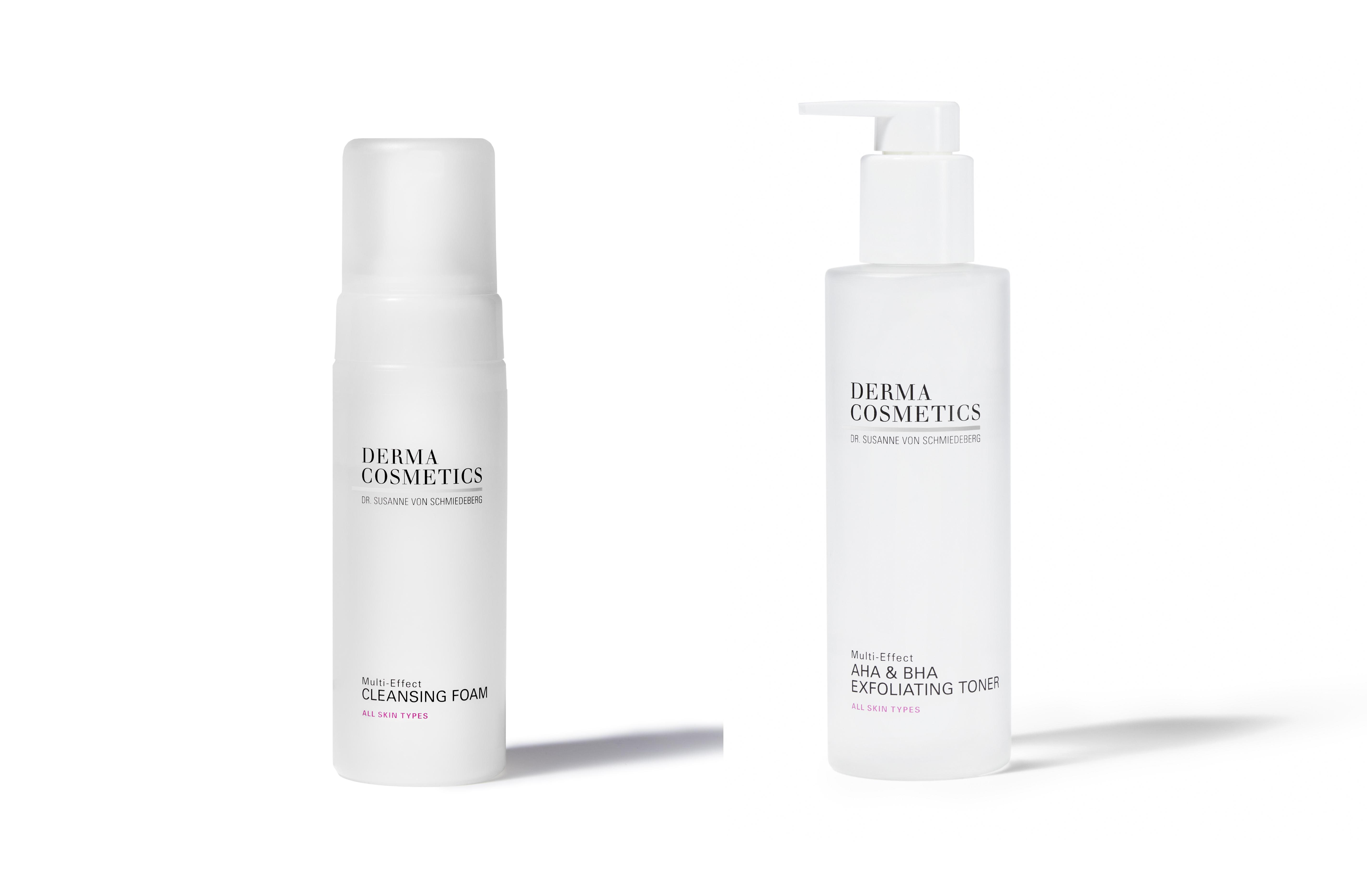 Dermacosmetics: Cleasing Foam y AHA & BHA Exfoliating Toner