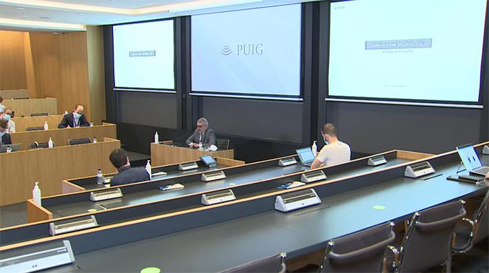 Marc Puig durante la rueda de prensa de los datos financieros 2020. Noticia: Puig volverá a crecer en los próximos tres años, después de un 2020 funesto